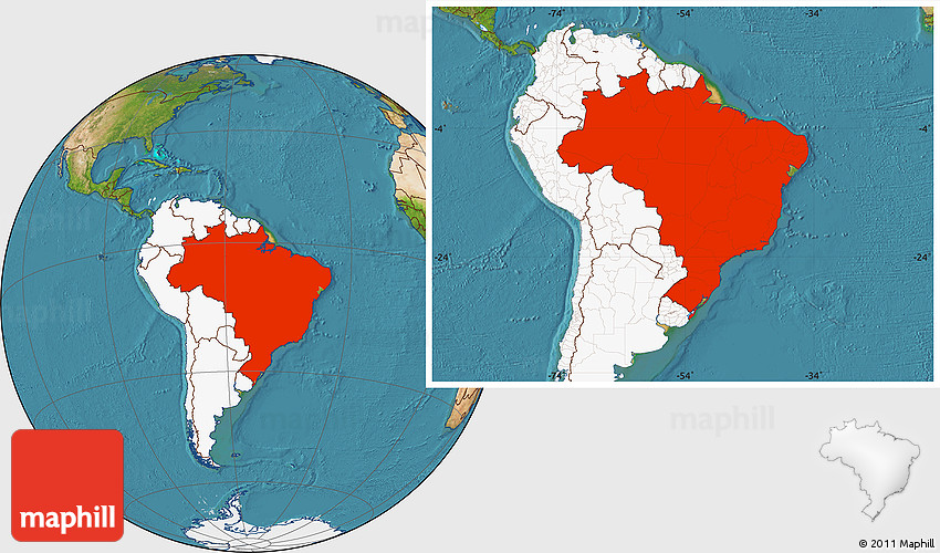 Satellite location map of brazil highlighted continent 2d gumiabroncs Gallery
