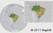 Satellite Location Map of Brazil, lighten, desaturated
