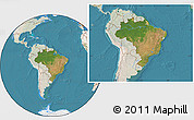 Satellite Location Map of Brazil, lighten, land only