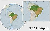 Satellite Location Map of Brazil, lighten