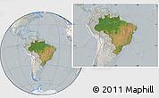 Satellite Location Map of Brazil, lighten, semi-desaturated