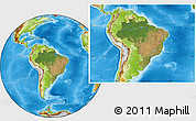 Satellite Location Map of Brazil, physical outside