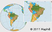 Satellite Location Map of Brazil, political outside