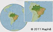 Satellite Location Map of Brazil, savanna style outside, hill shading