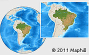 Satellite Location Map of Brazil, shaded relief outside