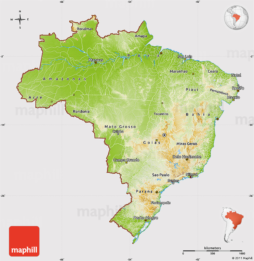 Physical Map of Brazil cropped outside