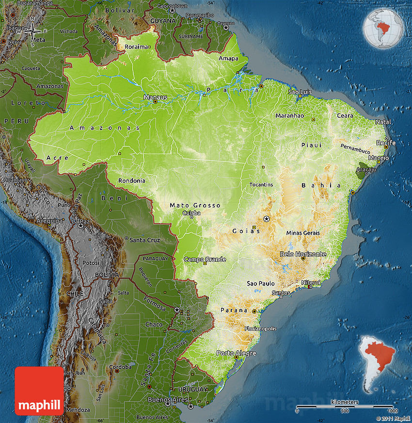 Physical Map of Brazil darken