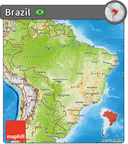 Free Physical Map of Brazil