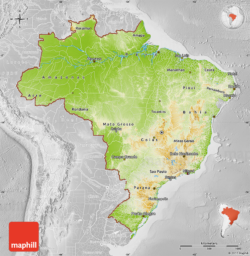 Physical Map of Brazil lighten desaturated