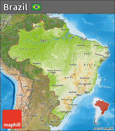 Free Physical Map Of Brazil Satellite Outside Shaded Relief Sea - Brazil map physical