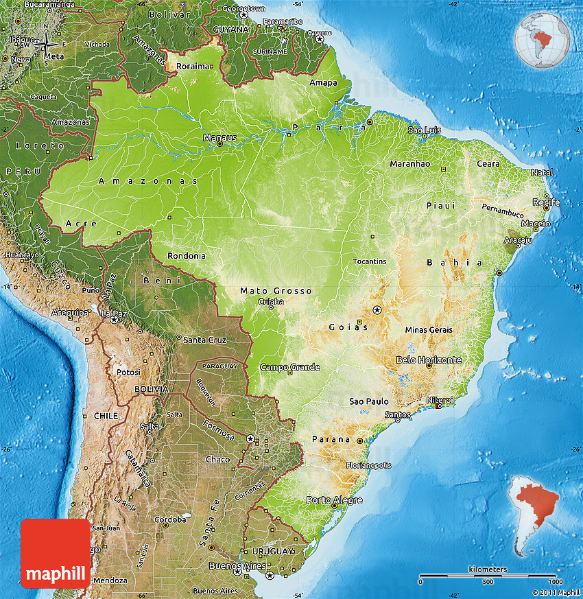 Physical Map of Brazil satellite outside shaded relief sea