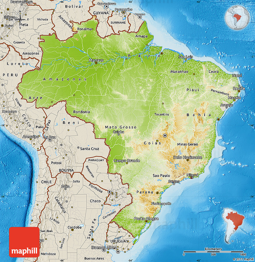 Physical Map of Brazil shaded relief outside