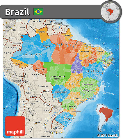 Free Political Map Of Brazil Shaded Relief Outside Bathymetry Sea - Political map of brazil