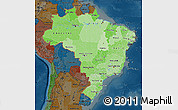 Political Shades Map of Brazil, darken