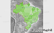 Political Shades Map of Brazil, desaturated
