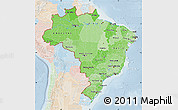 Political Shades Map of Brazil, lighten