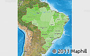 Political Shades Map of Brazil, satellite outside, bathymetry sea