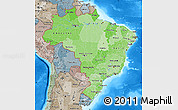 Political Shades Map of Brazil, semi-desaturated, land only