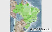 Political Shades Map of Brazil, semi-desaturated