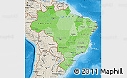 Political Shades Map of Brazil, shaded relief outside, bathymetry sea