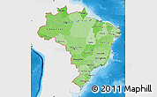 Political Shades Map of Brazil, single color outside