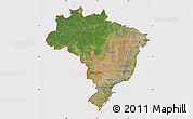 Satellite Map of Brazil, cropped outside