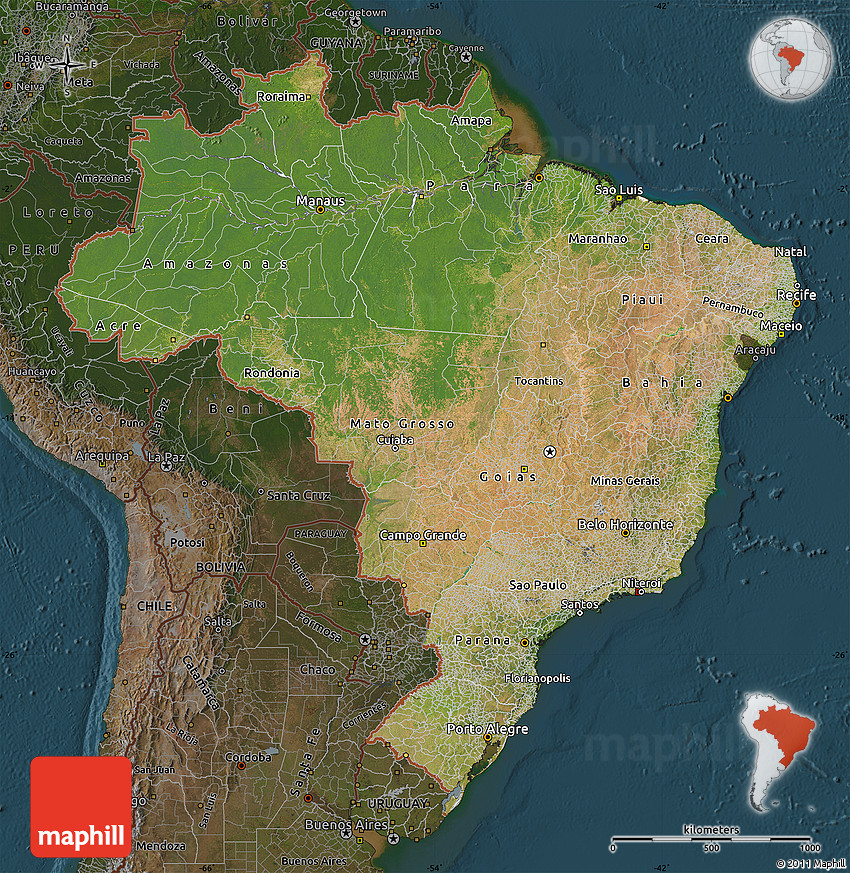 Satellite Map Of Brazil, Darken