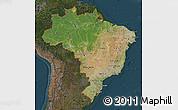 Satellite Map of Brazil, darken
