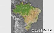 Satellite Map of Brazil, desaturated