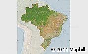 Satellite Map of Brazil, lighten