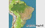 Satellite Map of Brazil, physical outside, satellite sea