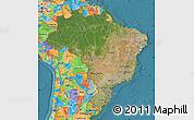 Satellite Map of Brazil, political outside, satellite sea