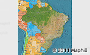 Satellite Map of Brazil, political shades outside, satellite sea