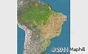 Satellite Map of Brazil, semi-desaturated, land only