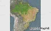 Satellite Map of Brazil, semi-desaturated