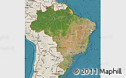 Satellite Map of Brazil, shaded relief outside, satellite sea