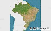 Satellite Map of Brazil, single color outside