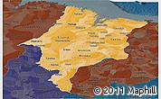 Political Shades Panoramic Map of Maranhao, darken