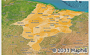 Political Shades Panoramic Map of Maranhao, satellite outside