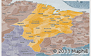 Political Shades Panoramic Map of Maranhao, semi-desaturated