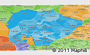 Political Shades Panoramic Map of Mato Grosso do Sul