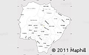 Silver Style Simple Map of Mato Grosso do Sul, cropped outside