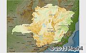 Physical 3D Map of Minas Gerais, darken