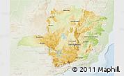 Physical 3D Map of Minas Gerais, lighten