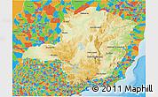 Physical 3D Map of Minas Gerais, political outside