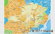 Physical 3D Map of Minas Gerais, political shades outside