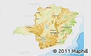 Physical 3D Map of Minas Gerais, single color outside
