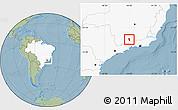 Savanna Style Location Map of Aiuruoca, highlighted country, hill shading