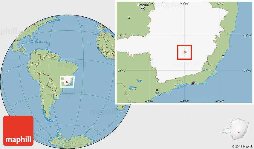 Savanna Style Location Map of Belo Horizonte highlighted parent region