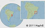 Savanna Style Location Map of Bocaina de Mina, within the entire country, hill shading